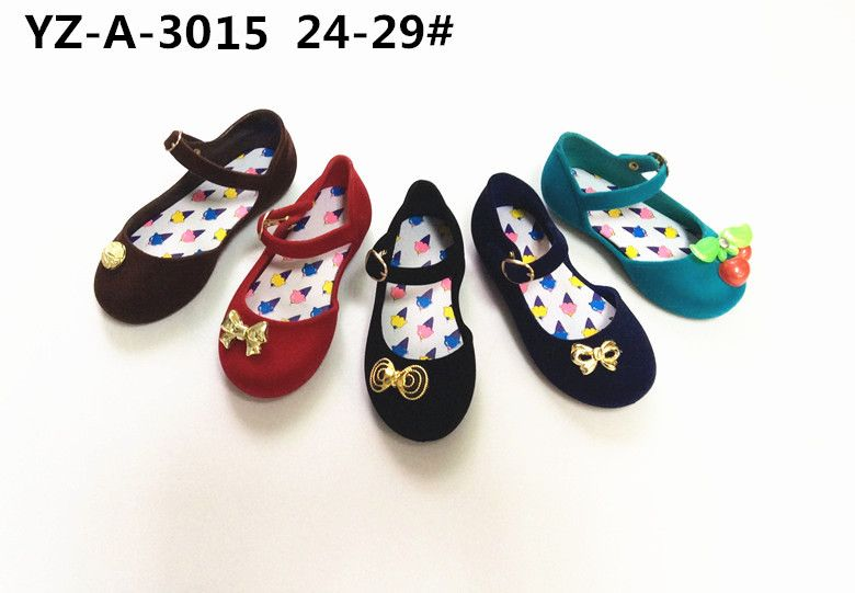 Newest Girls' PVC Jelly Sandals with Flocking