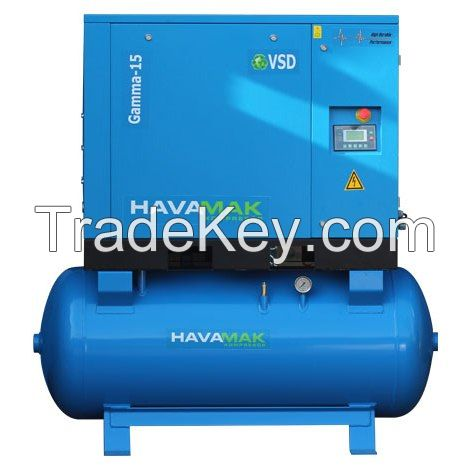 AIR COMPRESSOR TANK MOUNTED 11 KW INVERTER DRIVEN