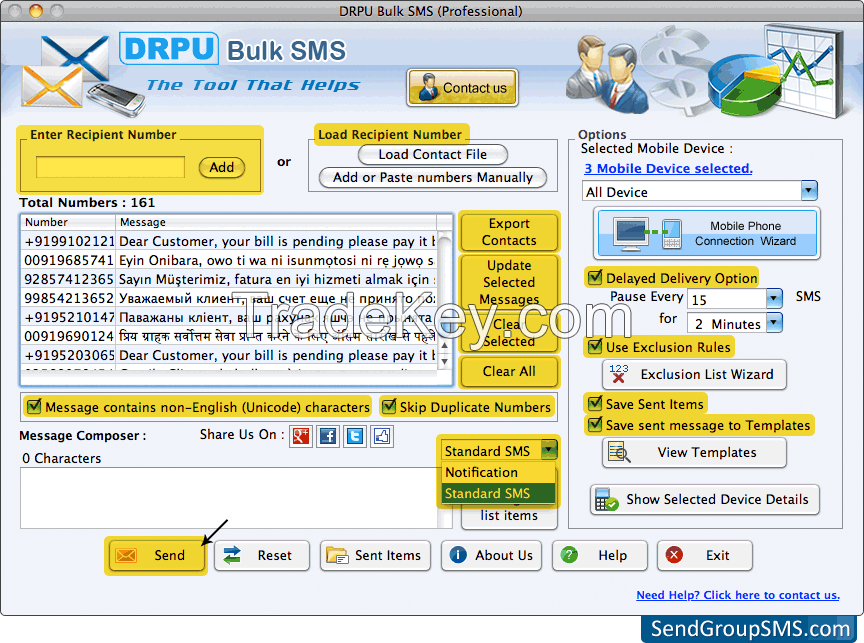 Mac Bulk SMS Software - Professional