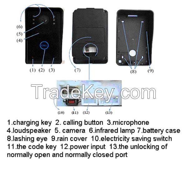 Wireless  intercom video door phone system with 7 inch monitor