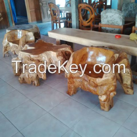 Teak wood furniture sets with hand carving