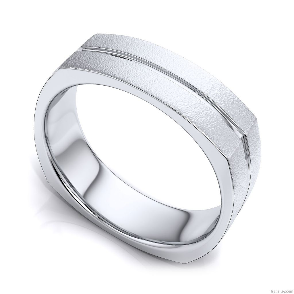 Two Tone Wedding Ring in 14k White Gold   (7mm) European Shank