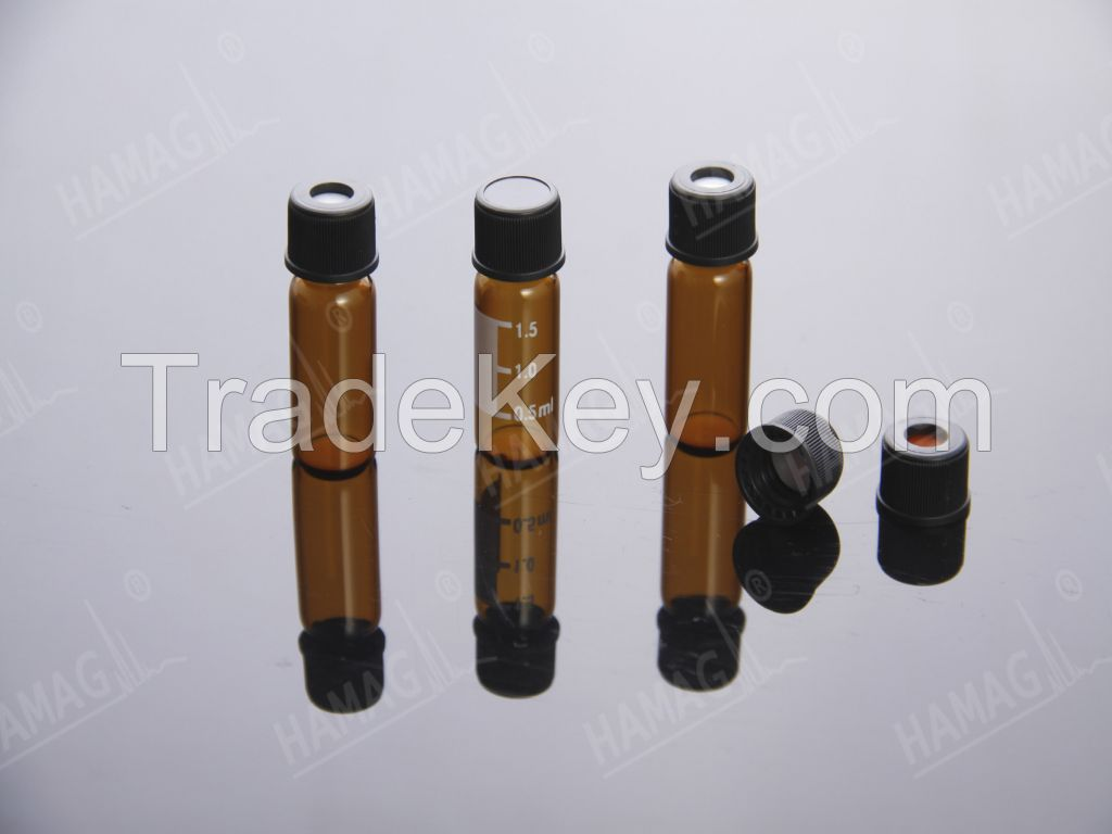 8-425 Screw Neck Vials, Caps and Septa, small opening, thread ND8