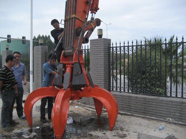 excavator scrap metal grab