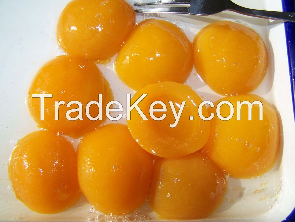 Canned Yellow Peach halves in heavy syrup