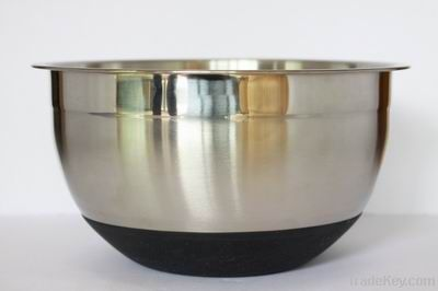 Silicone Stainless steel salad bowl