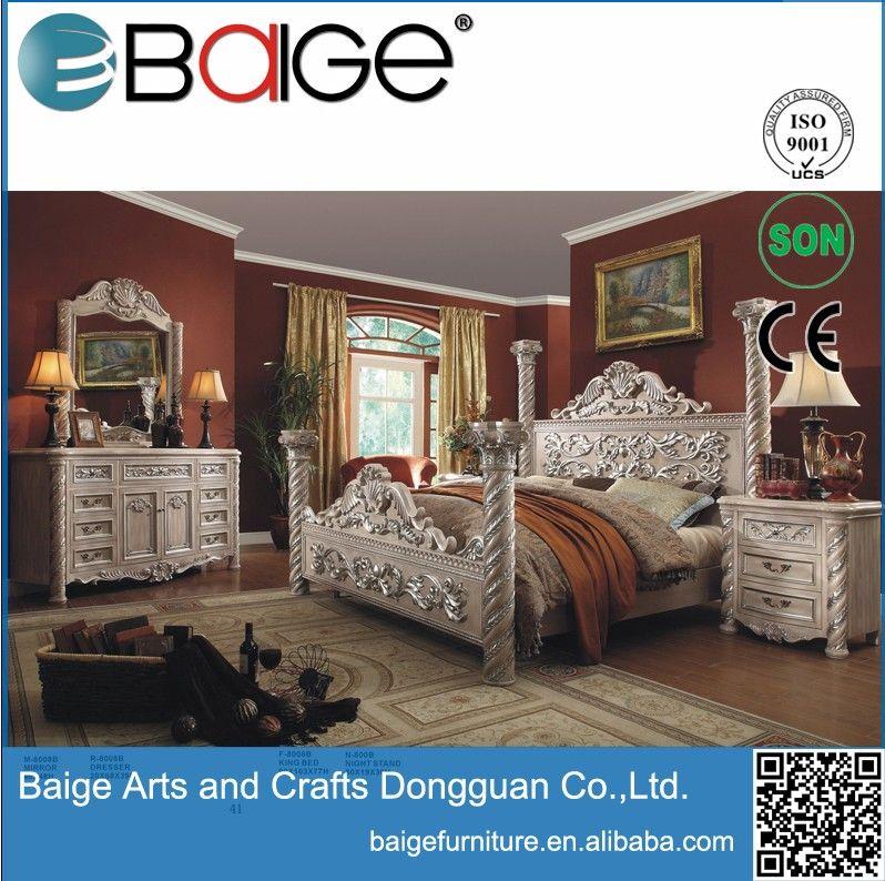 Good quality antique hand carved wooden bedroom furniture