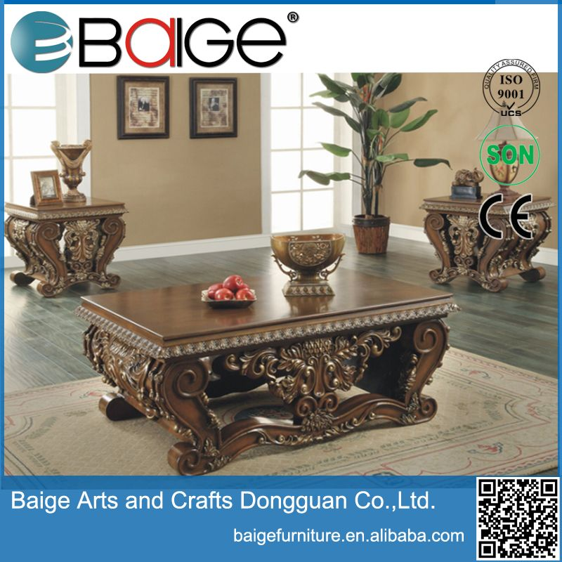 Good quality antique hand carved wooden coffee table