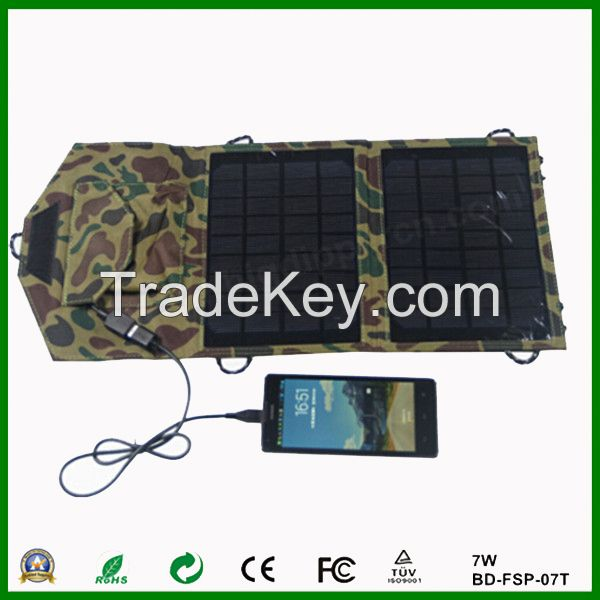 7w outdoor folding solar charger for mobile phone/tablet pc etc.