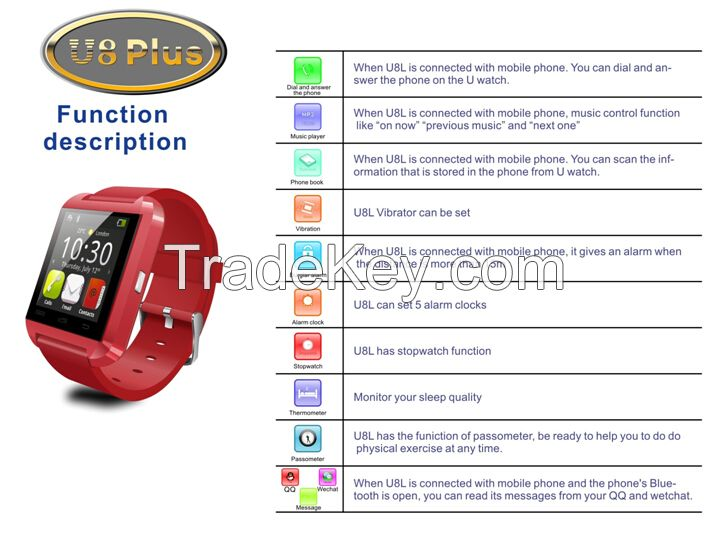 New U8 plus bluetooth smart watch compatible with both Android system and IOS system
