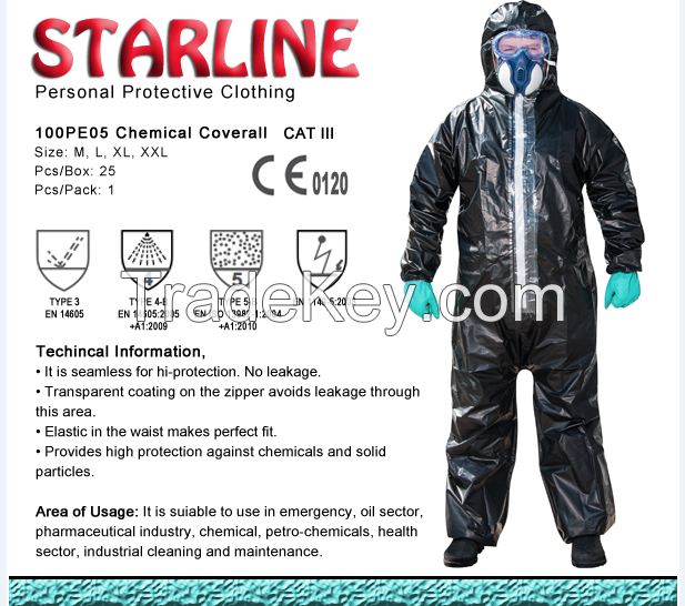 100 PE 05 Chemical coverall CAT III