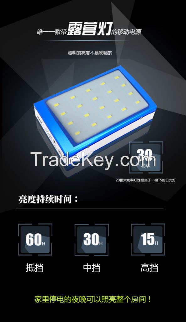 Solar power bank with true capacity 10000mah and 10w LED light
