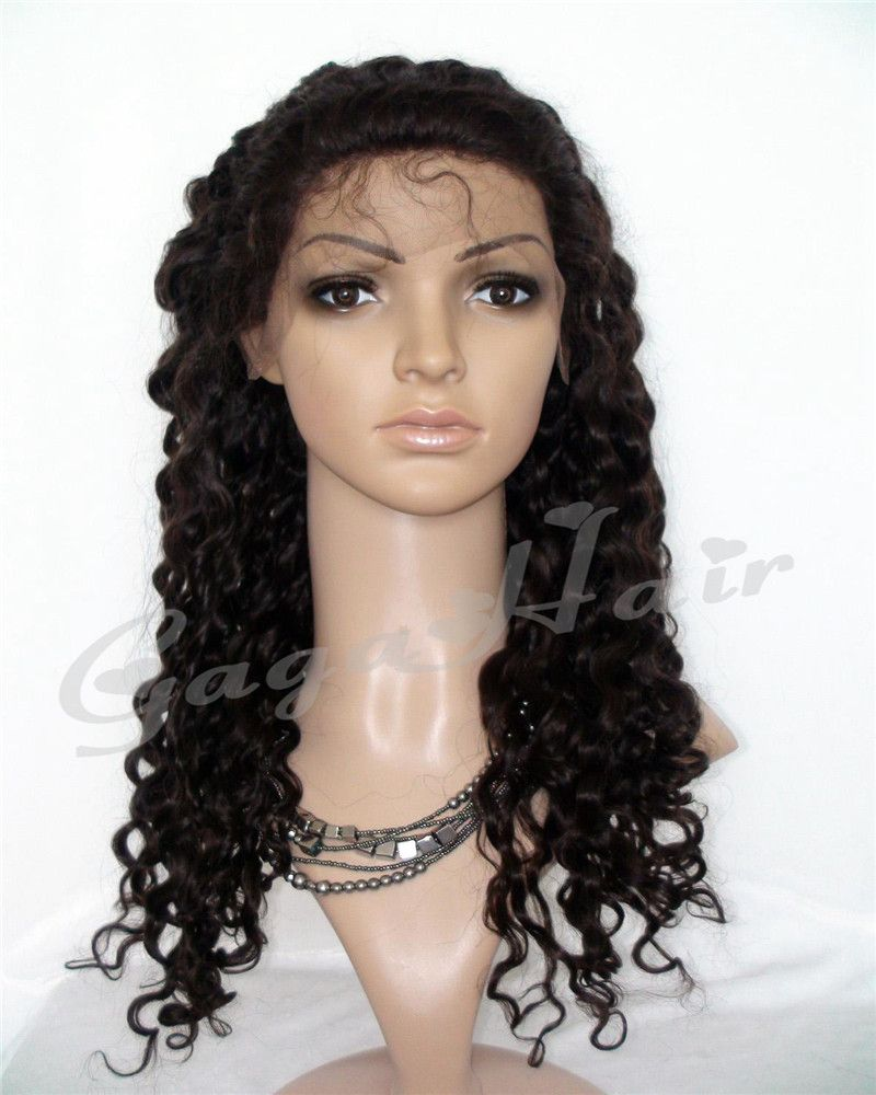 Free Shipping!Queen Hair Products Deep Wave 2# Natural Black 10''-24'' Brazilian Virgin Hair Full Lace Wigs Free Shipping Cheap