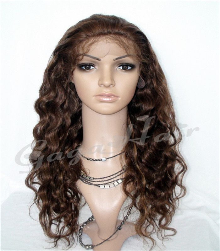 Top Fashion Very long wigs Deep Wave #4/27 Highlight Remy Lace Front wigs Peruvian Virgin Human Hair Front Lace Wigs Free Ship