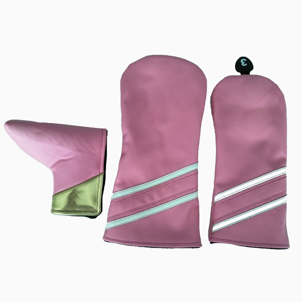 Pink color PU leather one set golf head cover