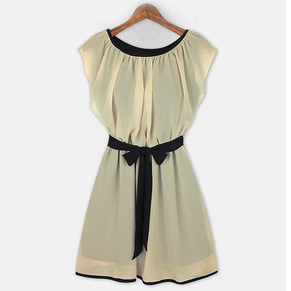 Summer New Women Girl's Casual Fashion Chiffon Cool Crew Neck Sleeveless Dress Beach Summer Wear