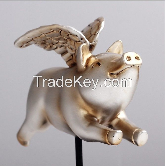 Custom resin flying pig figurine decoraiton chubby pig with wing