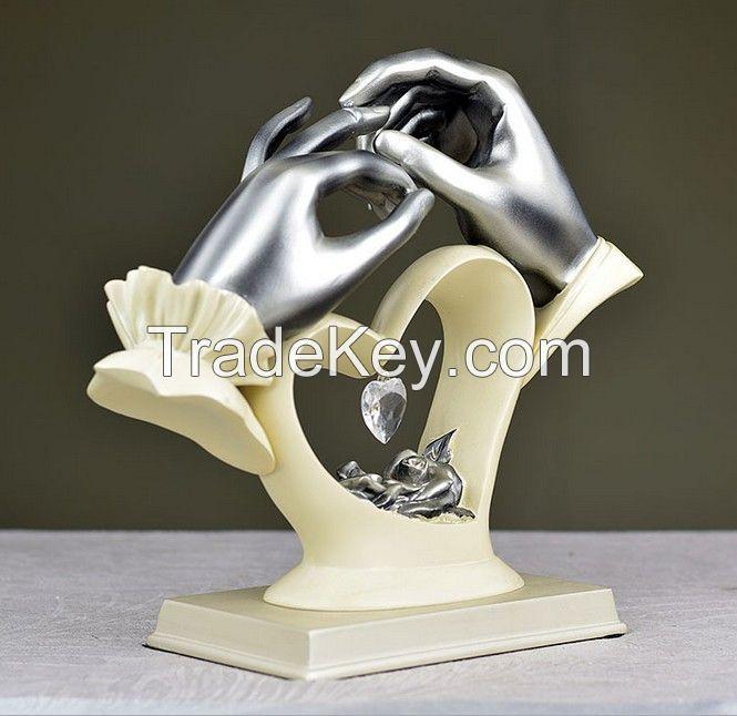 resin heart shape lover wedding decoration gift