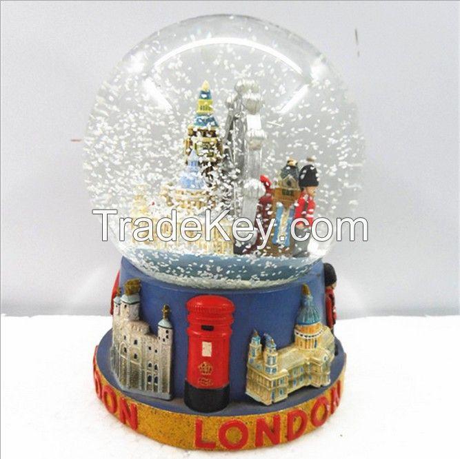 custom resin glass snow globe for london