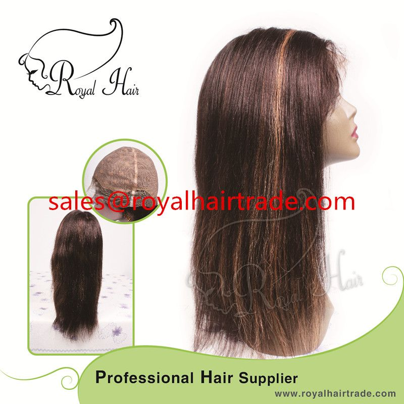Top Quality 100% Virgin Human hair straight natural color 8-24inch glueless full lace wig