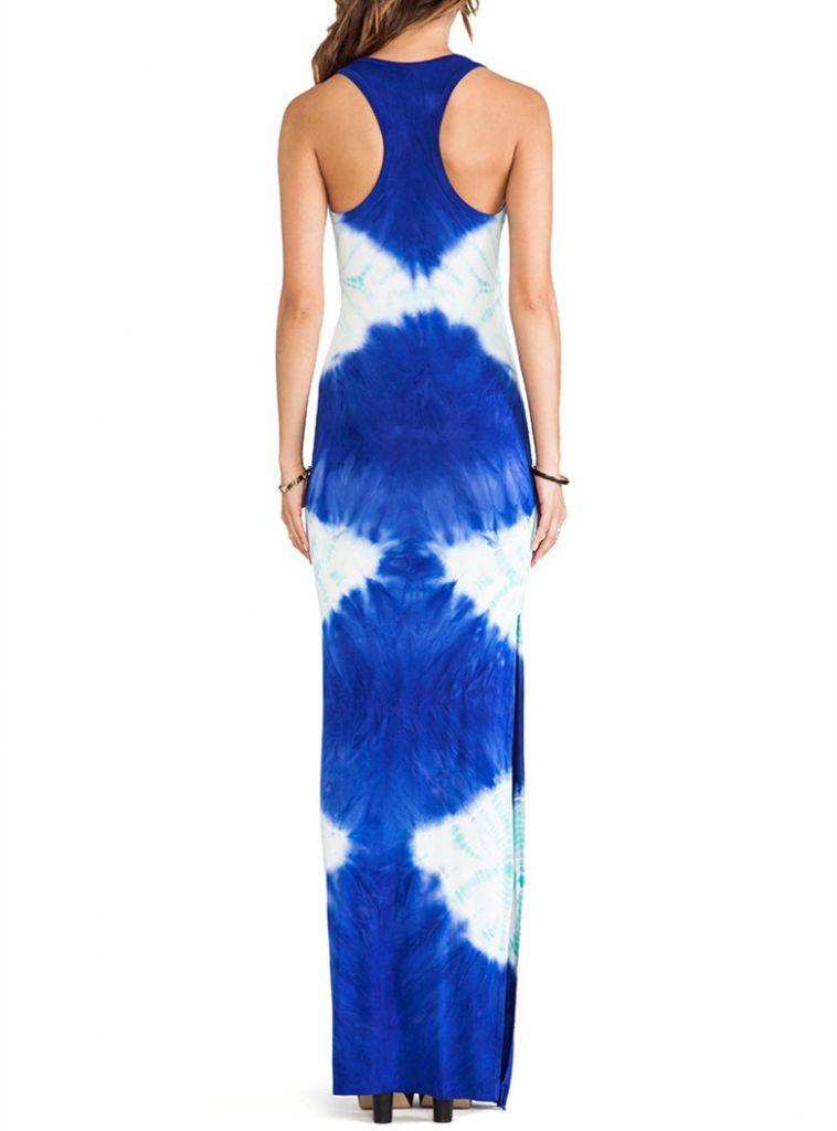 Dongguan clothing fashion woman nice tie-dye jersey maxi dress