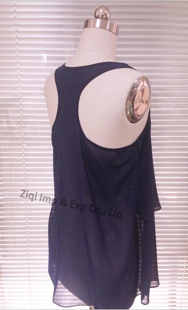 Women's Polyester Chiffon V-neck Tank Tops