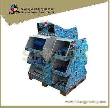 Custom design 4 color printing folded cardboard accessories counter display