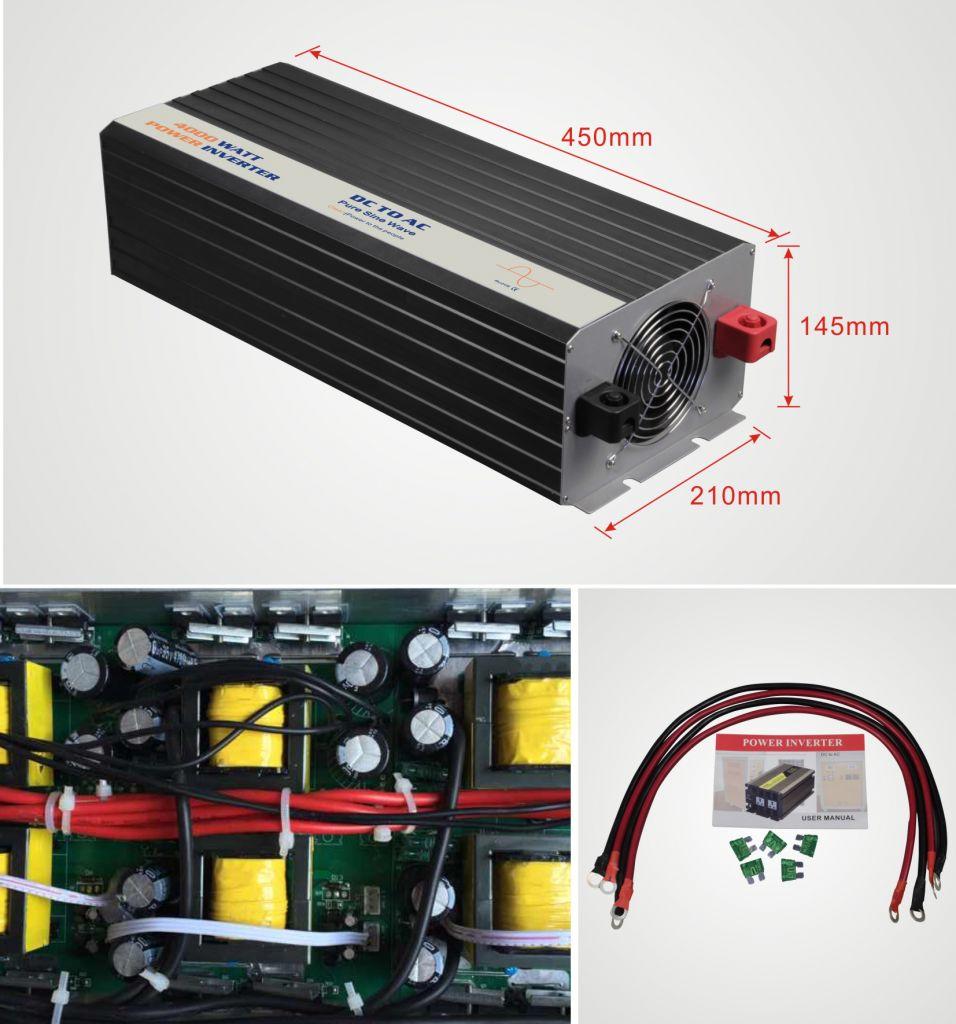 12V Pure Sine Wave Solar Power Inverter 4000W output voltage 120V or 220V connect 12V battery off grid solar system