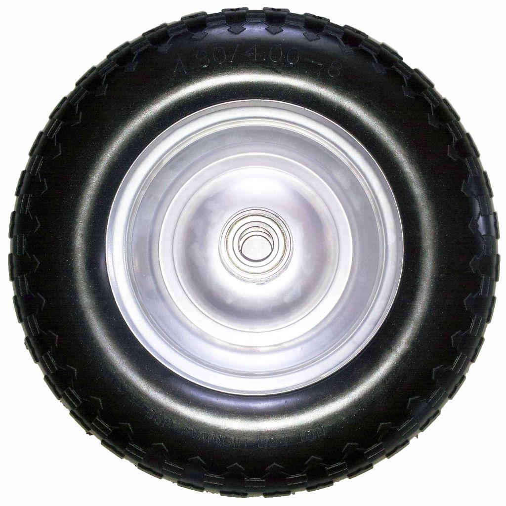 4.00-8 FLAT FREE solid PU tire rubber wheel for hand truck, wheelbarrow, garden cart, trolley