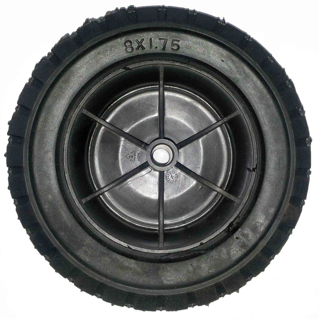 8.00-1.75 FLAT FREE solid tire rubber wheel for hand truck, wheelbarrow, garden cart, trolley