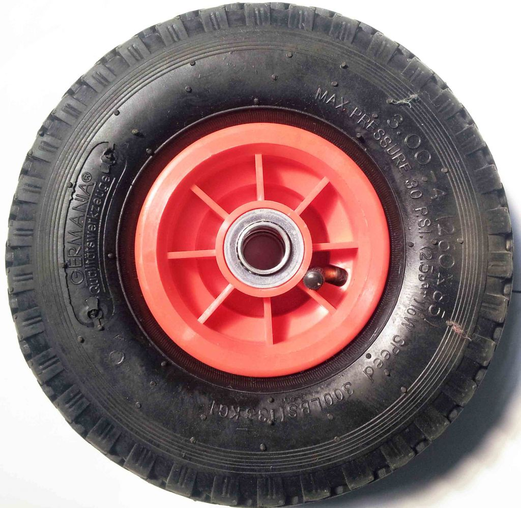 3.00-4 pneumatic tire rubber wheel with plastic rim for hand truck, wheelbarrow, garden cart, trolley