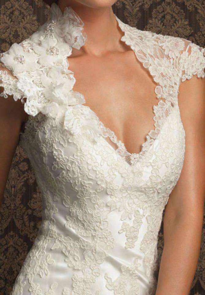 A Line V Neck Short Sleeve Appliques Court Train Lace Wedding Dresses