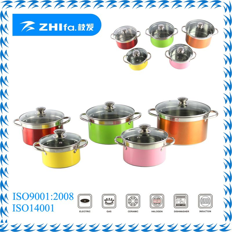 10pcs stainless steel colorful cookware set for sale and gift