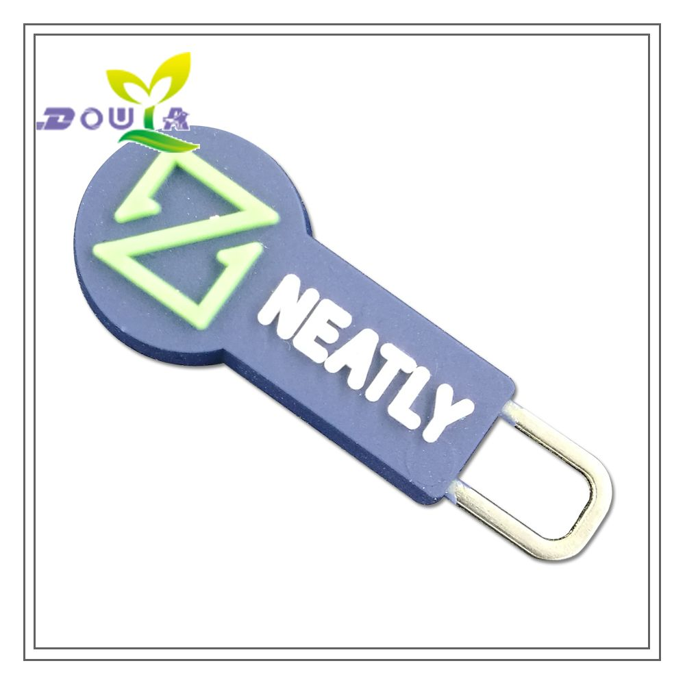 Custom rubber zipper Pull handle with personal name for slider clothing Plastic tags bags silicone labels for gift pvc label