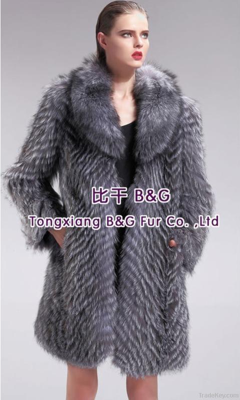 27571A Genuine Silver Fox Fur Coat Women