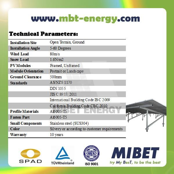 Aluminum Ground Solar PV Mounting System with Concrete Base or Ground Screws