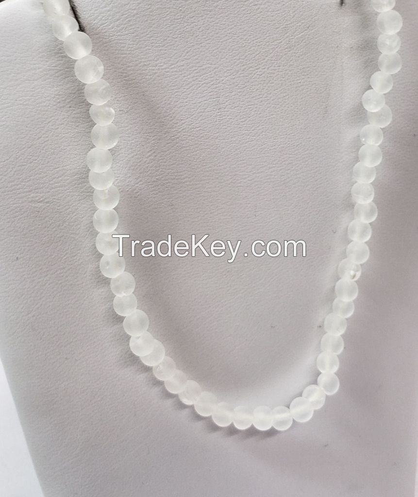 Frosted Crystal 4mm beads for stringing.