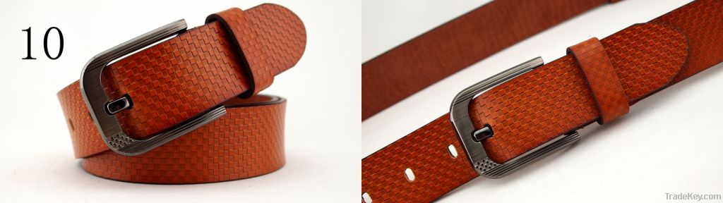 Pin buckle genuine leather casual belt