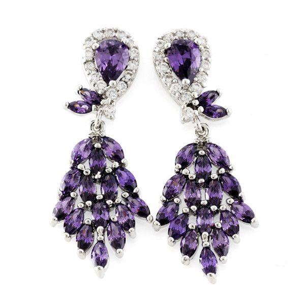 Chandelier earrings zircon brass rhodium plating jewelry