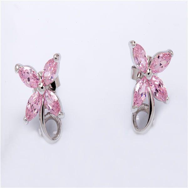 Stud earrings zircon brass rhodium plating jewelry