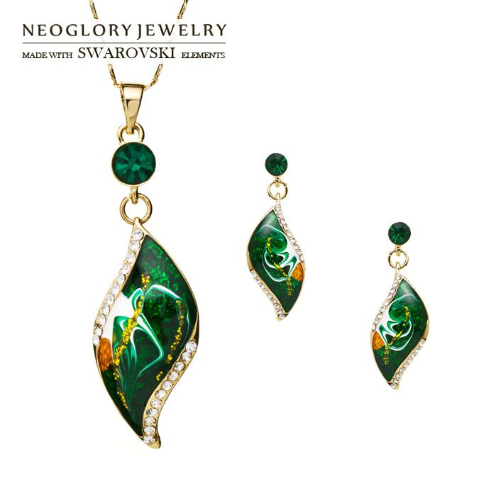 Neoglory Rhinestone 14K Gold Plated Ethnic Jewelry Sets Wedding Necklace and Earrings Leaf Style