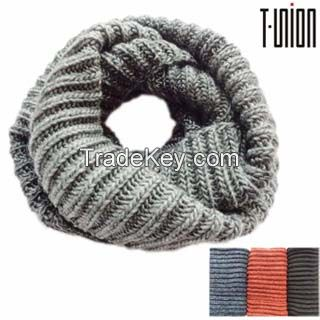Men's Wool Blended Fashion Knitted Tube Scarf