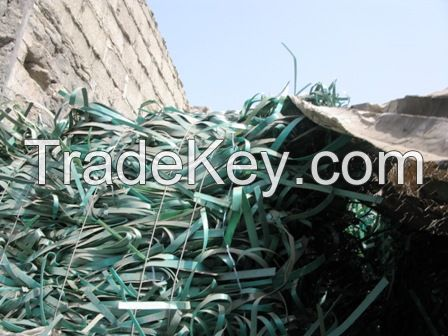 PET strapping wastes green coloured