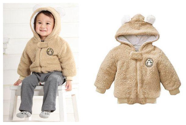 Infant clothing baby winter zipper coating children berber fleece hoodies hooded jackets