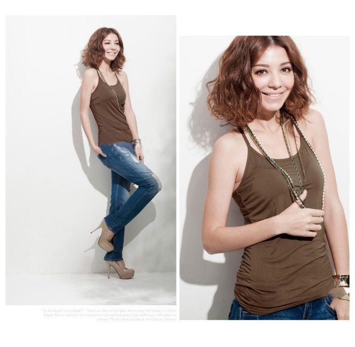 Women's clothing in stock Ladies tank top wholesale high quality girl cotton T-shirts