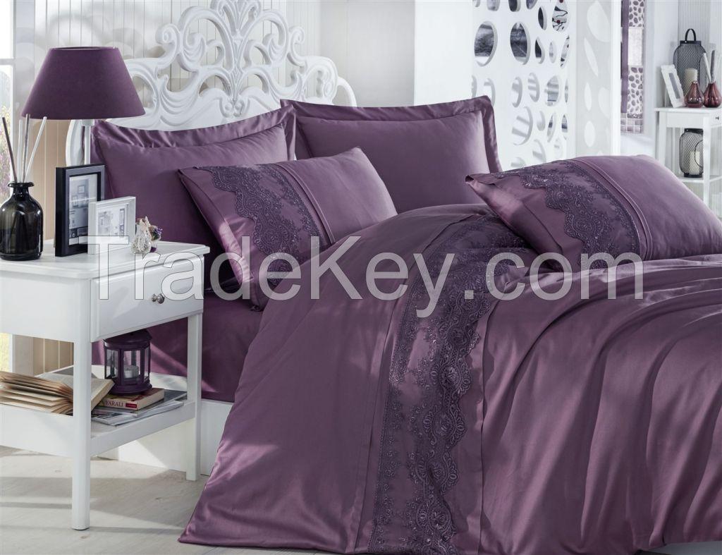 Cotton Satin King Size Duvet Cover Set - Isabel