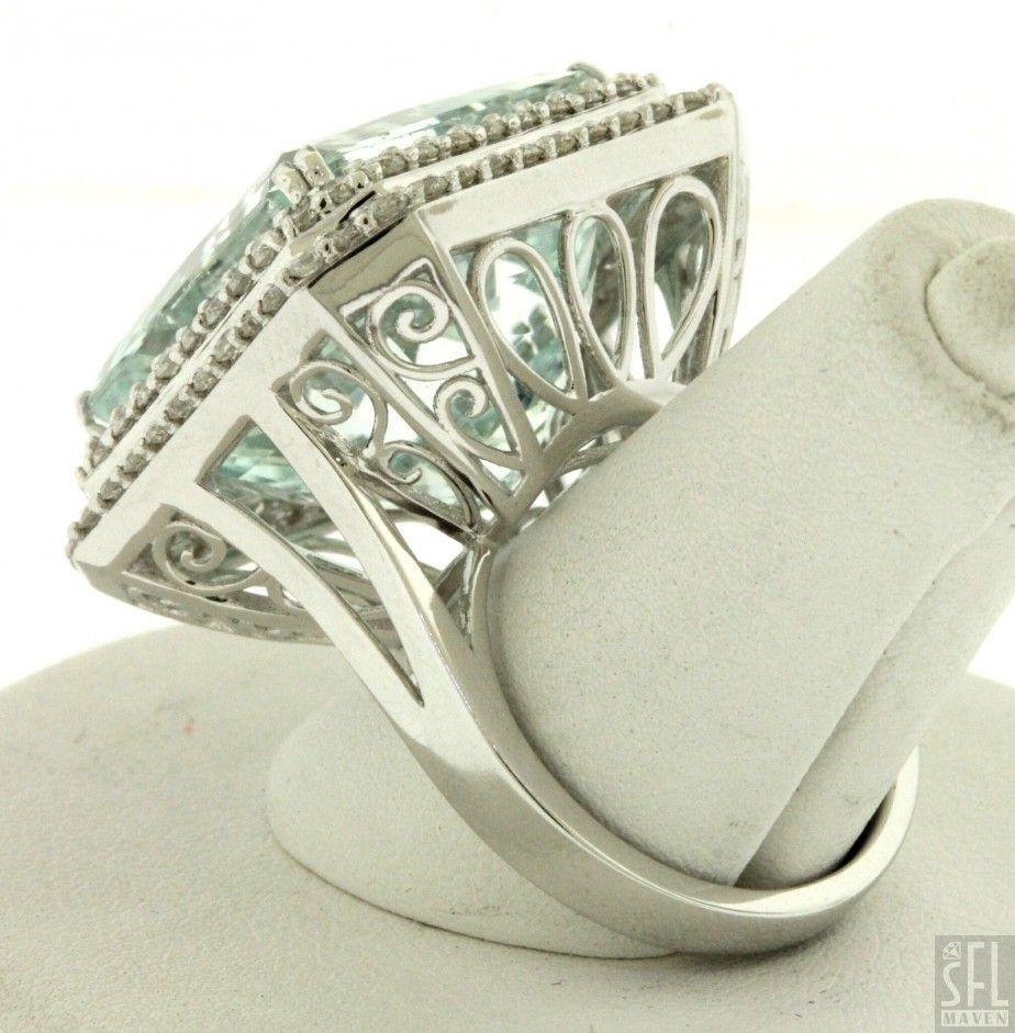 Michael Christoff heavy 18K white gold 29.13CTW diamond/aquamarine cocktail ring.