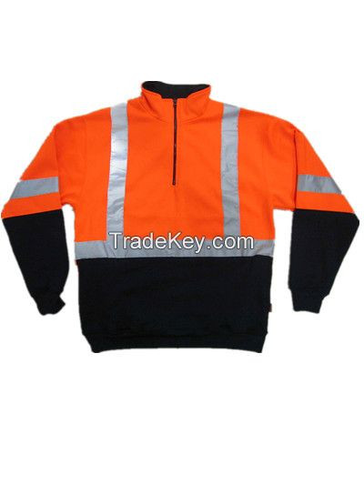 safety reflective half zip workwear men hoodies winter