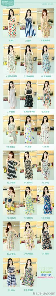 floral strapless shoulder straps beach dress