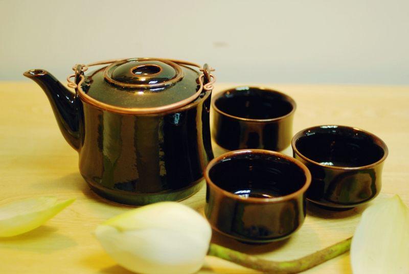 Black Temoku Tea set